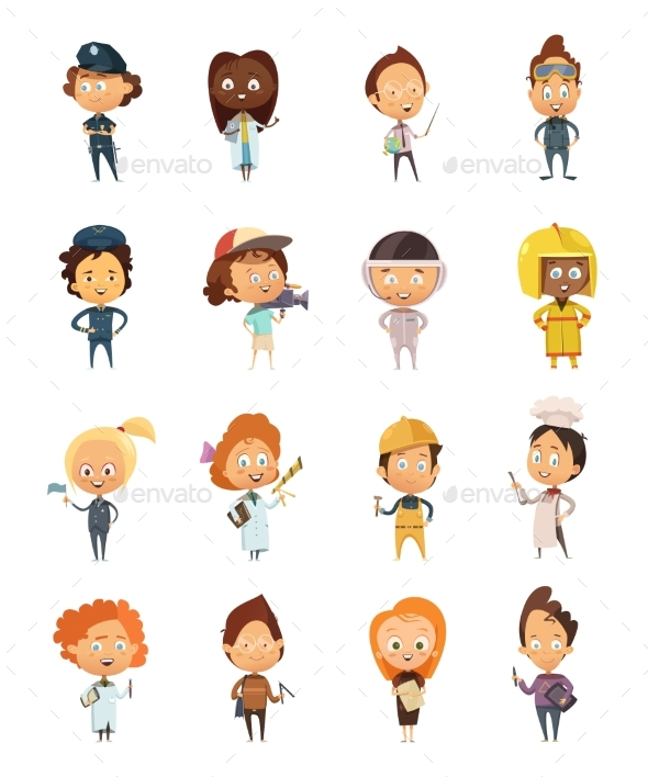 People Professions Cartoon Icons - Objects Vectors