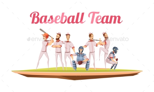Baseball Team Retro Cartoon Composition - People Characters