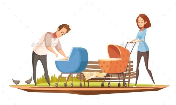 Parenthood Oudoor Retro Cartoon Poster - People Characters