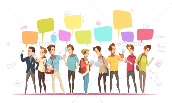 Teenage Boys Online Cartoon Poster - People Characters