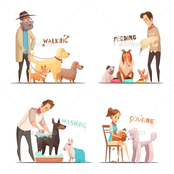 Dog Concept Icons Set - Animals Characters