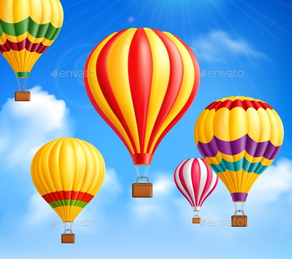 Hot Air Balloons Background - Objects Vectors