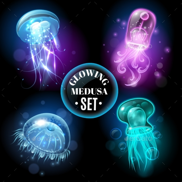 Glowing Jellyfish Medusa Set Poster - Animals Characters