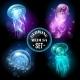 Glowing Jellyfish Medusa Set Poster