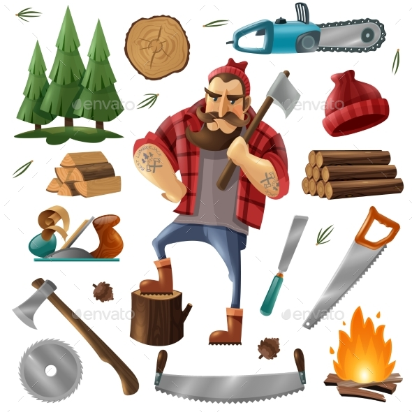 Deforestation Lumberjack Icon Set - Flowers & Plants Nature
