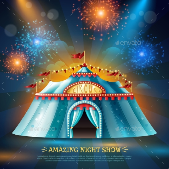 Crcus Tent Night Background Poster - Buildings Objects