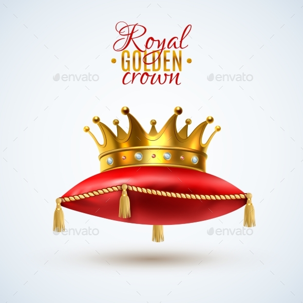 Goyal Crown On Red Pillow - Objects Vectors