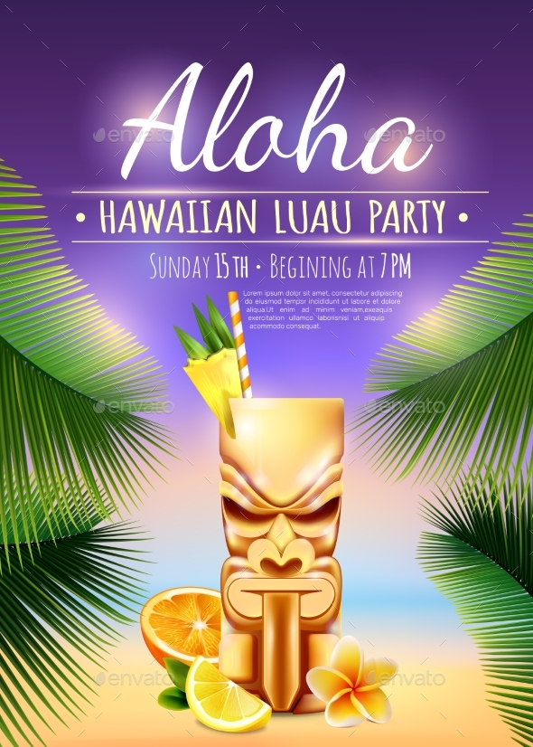 GraphicRiver Hawaiian Luau Party Poster 20533219