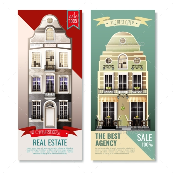 Old European Facade Houses Vertical Banners - Business Conceptual