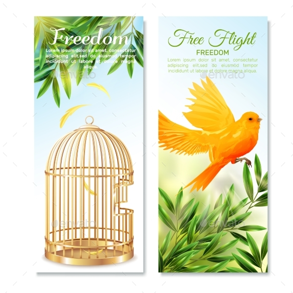 Canary in Free Flight Vertical Banners - Animals Characters