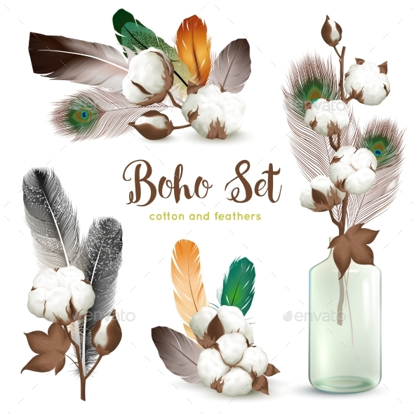 GraphicRiver Cotton Bolls Feathers Boho Set 20533235