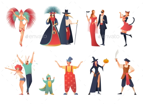 Carnival Party Icons Set - Sports/Activity Conceptual