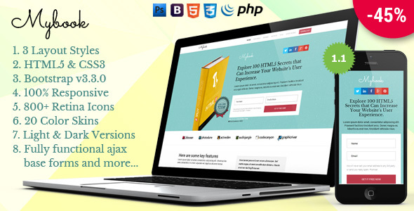 Mybook - Responsive Bootstrap Book Landing Page - Marketing Corporate