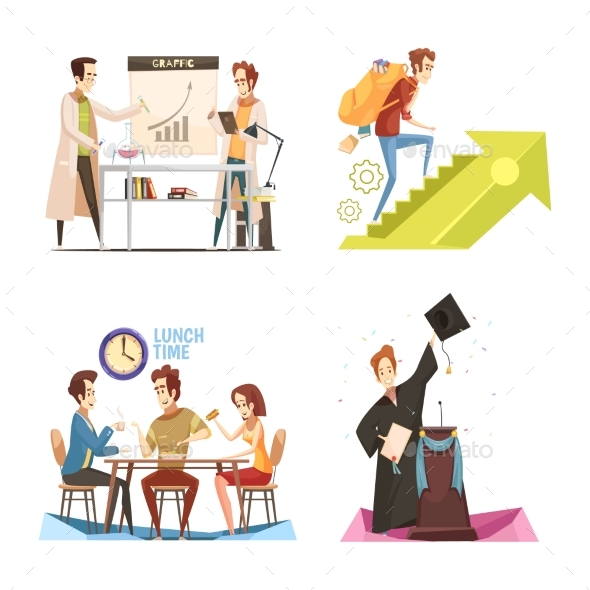 Students Retro Cartoon Design Concept - People Characters