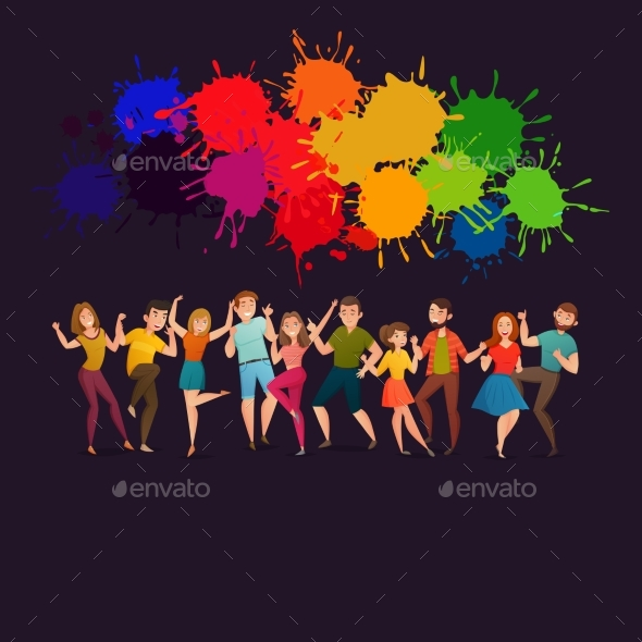 Dancing People Festive Colorful Poster - Backgrounds Decorative