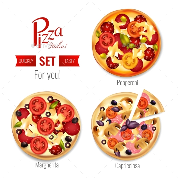 Pizza In Assortment Set - Business Conceptual