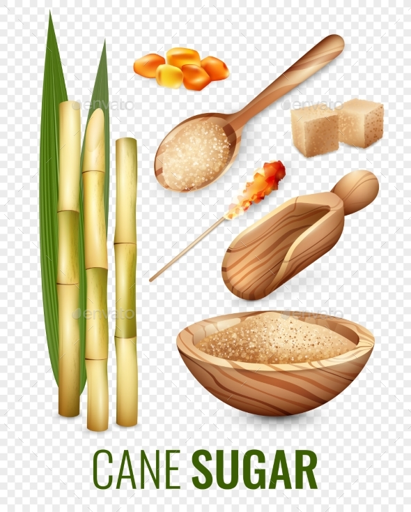 Cane Sugar Transparent Set - Food Objects