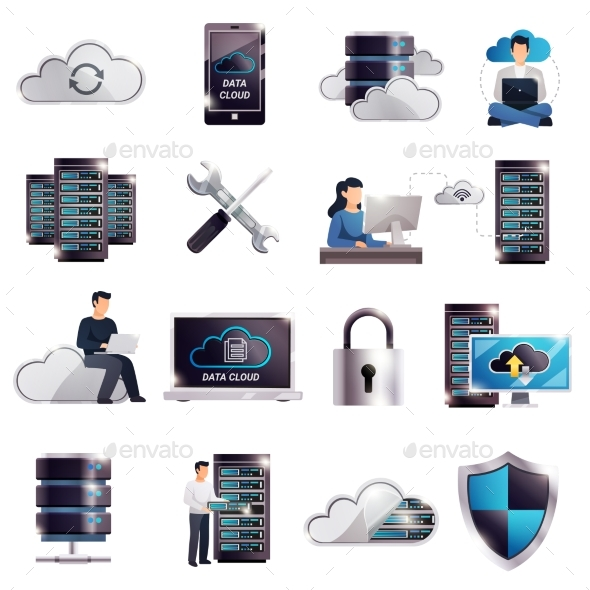 GraphicRiver Datacenter Hosting Server Cloud Set 20533341