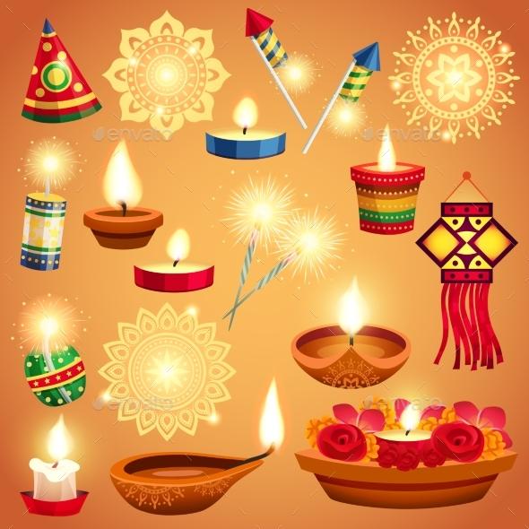 GraphicRiver Realistic Diwali Set 20533348