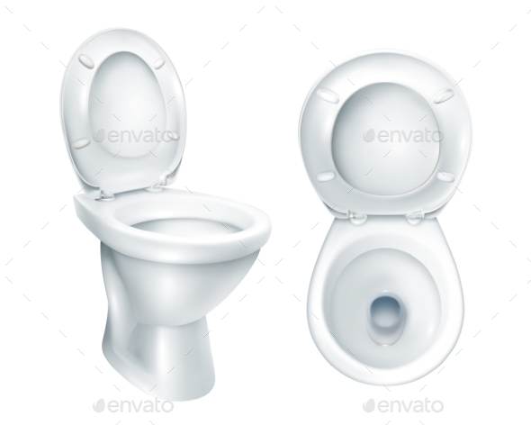 Realistic Toilet Mockup - Man-made Objects Objects