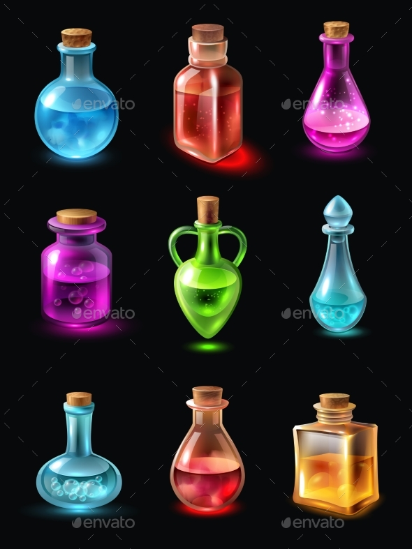 GraphicRiver Bottles with Potion Set 20533392