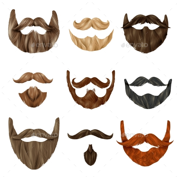 Realistic Beards and Mustache Set - People Characters