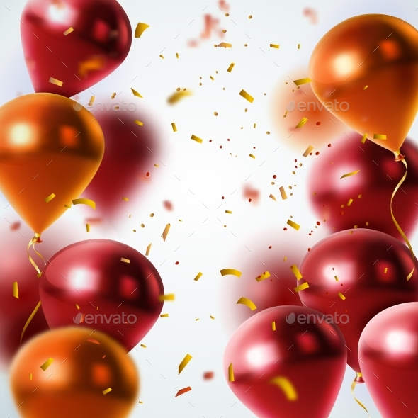GraphicRiver Shiny Balloons and Confetti Background 20533398