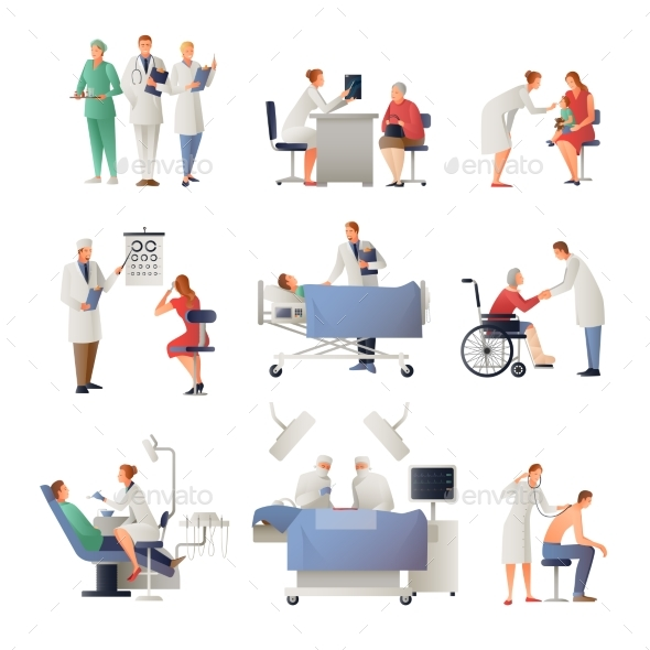Doctor and Patient Flat Icons Set - Health/Medicine Conceptual