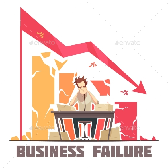 Business Failure Retro Cartoon Poster - Concepts Business