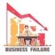 Business Failure Retro Cartoon Poster