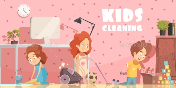 Kids Cleaning Room Cartoon Poster - People Characters
