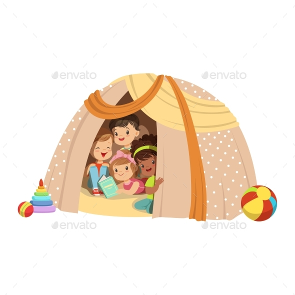 Little Boys and Girls Sitting in a Homemade Teepee - People Characters