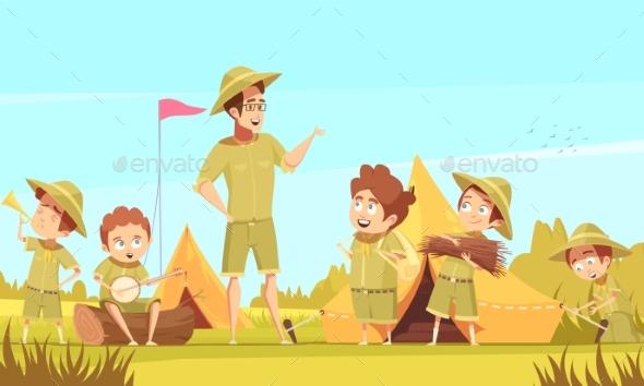 GraphicRiver Scouts Camping Retro Cartoon Poster 20533421