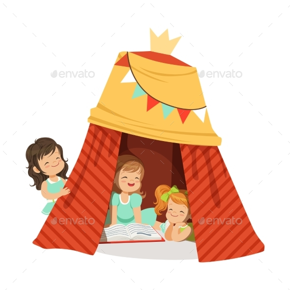 Little Girls Sitting in a Homemade Teepee - People Characters