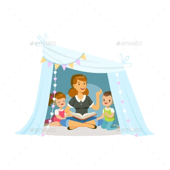 Mum Reading a Book to Her Children - People Characters