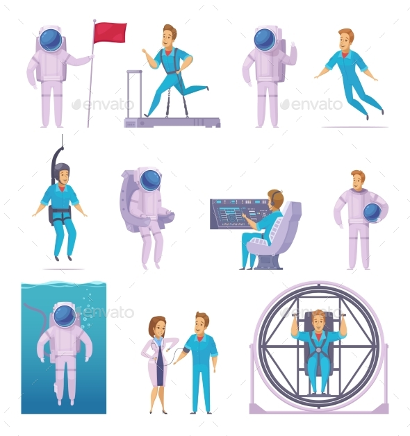 Astronaut Cartoon Character Icons Set - People Characters
