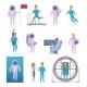 Astronaut Cartoon Character Icons Set