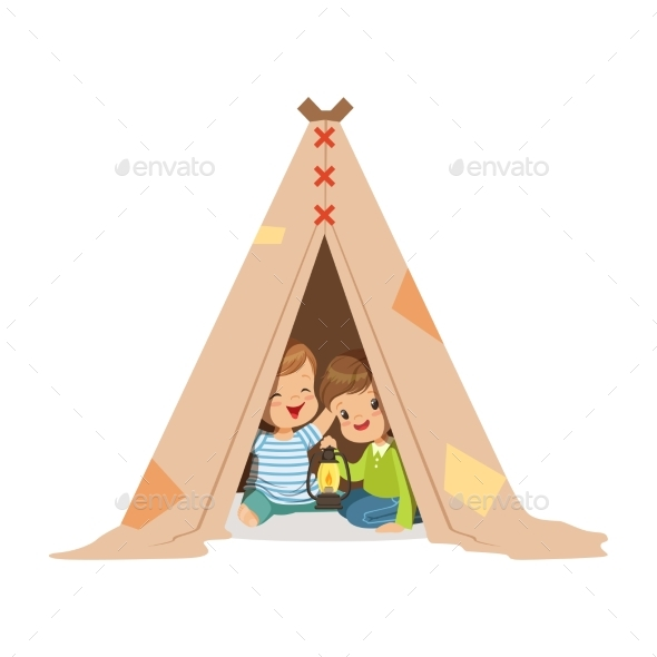 Boys Sitting in a Tepee Tent with a Lantern - People Characters