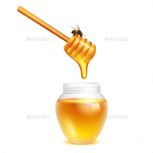 Honey Dripping in Glass Jar - Food Objects