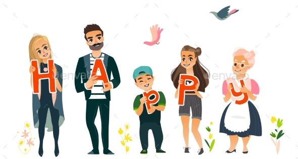 Family Members Holding Letters of Word Happy - People Characters