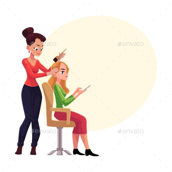 Hairdresser Dying Long Hair of Blond Woman - People Characters