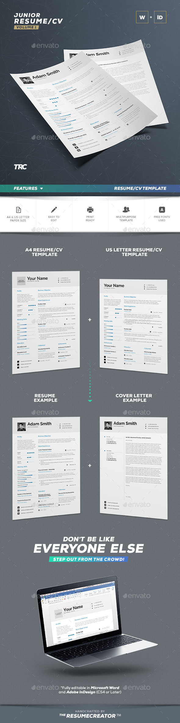 Resume / Cv Template - Word And Indesign - Resumes Stationery