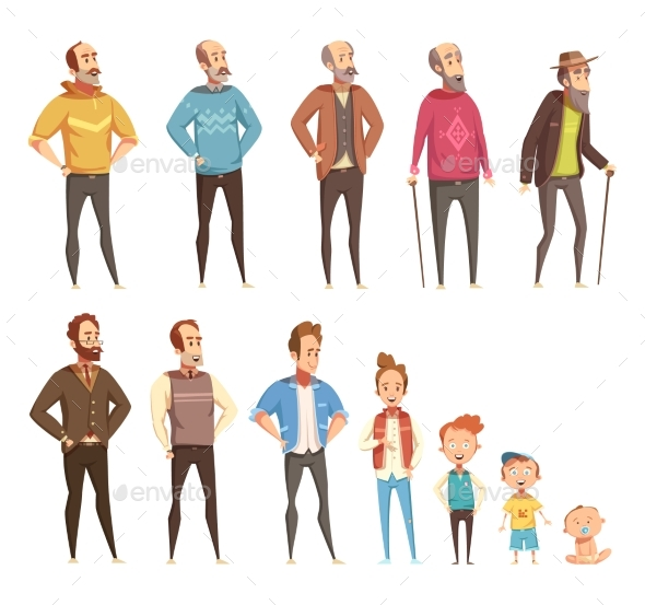 Men Generation Decorative Icons Set - People Characters