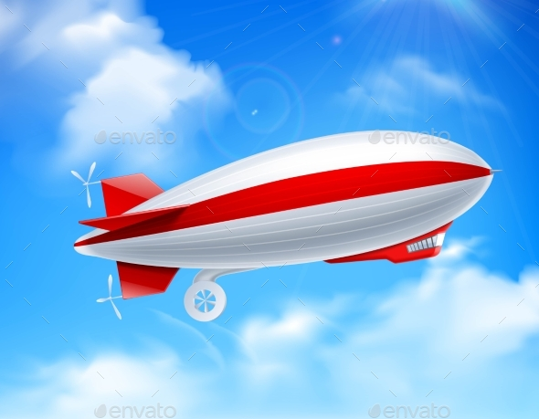 Zeppelin on Sky Composition - Travel Conceptual
