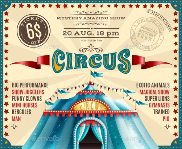 Circus Performance Announcement Retro Poster - Miscellaneous Vectors