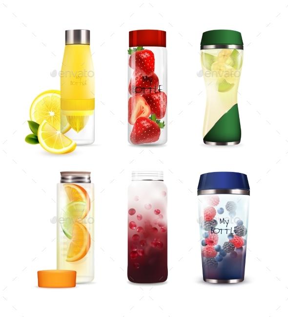 Bottles with Detox Fruit Beverages Set - Food Objects