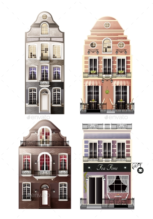 Variations of Old European Facade Houses - Buildings Objects