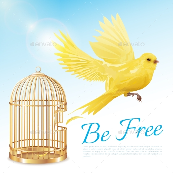 GraphicRiver Canary Flying From Cage Poster 20533753