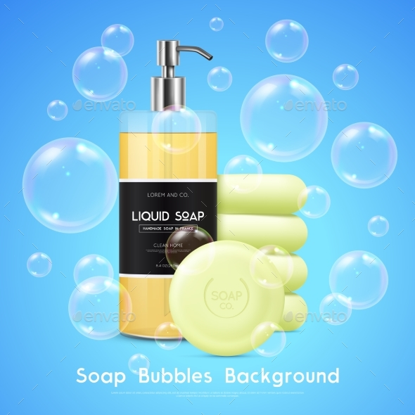 Soap Bubbles Realistic Background Poster - Man-made Objects Objects