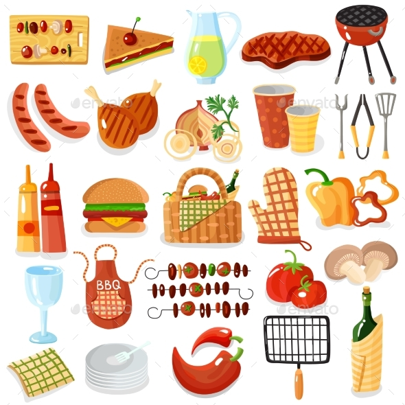 GraphicRiver Barbecue Accessories Stylish Icons Collection 20533775